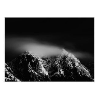 Black and white long exposure clouds over mountain poster