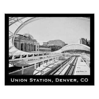 Black and White Look of Union Station, Denver, CO Poster