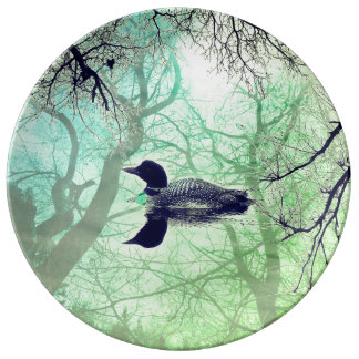 Black and white loon  lake abstract decor plate