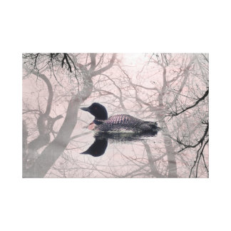 Black and white loon on a lake  art canvas pink