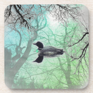Black and white loon on a lake set of coasters