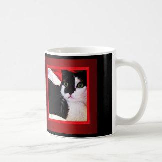 Black and White Love Cat on Red Mug