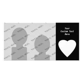 Black and White Love Heart Design. Personalised Photo Card