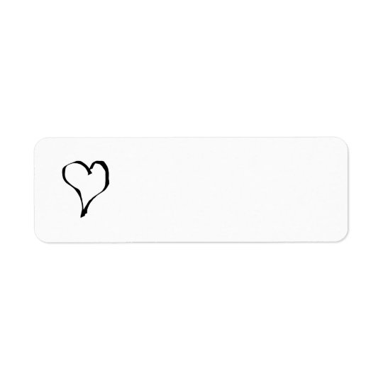 Black and White Love Heart Design. Return Address Label