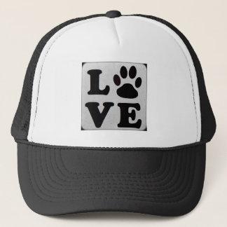 Black and white LOVE paw print Baseball Cap