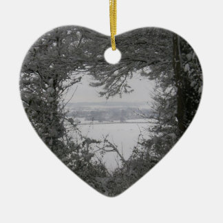 Black and White Love Snow Heart Photo Christmas Ho Christmas Ornaments