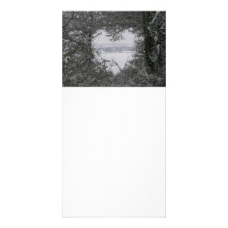 Black and White Love Snow Heart Photo Holiday Customized Photo Card