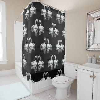 Black and white love swans  photograph shower curtain