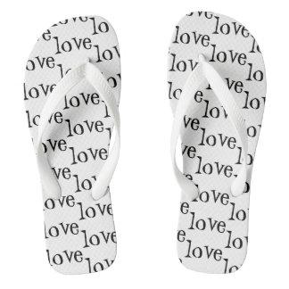 Black and White Love Word Pattern Flip Flops