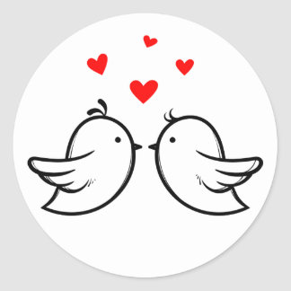 Black And White Lovebirds Red Hearts Wedding Classic Round Sticker