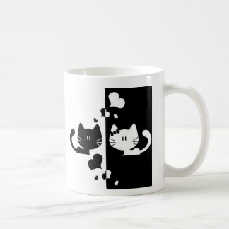 Black and white lovers cats coffee mug