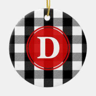 Black and White Lumberjack Plaid Monogram Ceramic Ornament