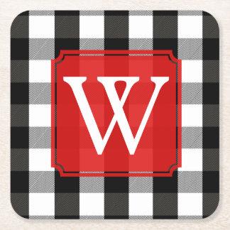 Black and White Lumberjack Plaid Monogram Square Paper Coaster