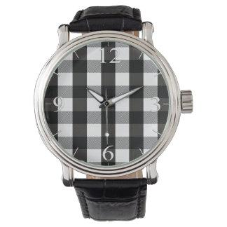 Black and White Lumberjack Plaid Watch
