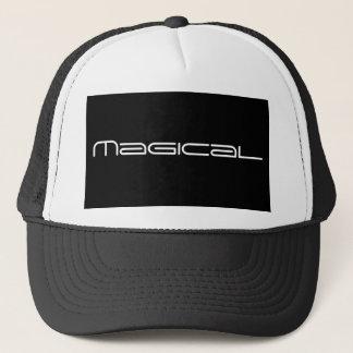 black and white-magical print trucker hat