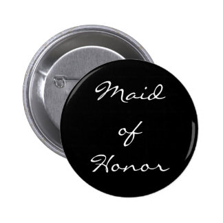 Black and White Maid of Honor Button