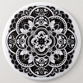 Black and white mandala 6 cm round badge