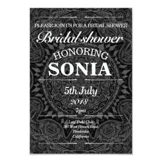 Black and white mandala bridal shower card