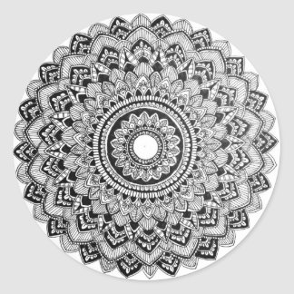 Black and White Mandala Classic Round Sticker
