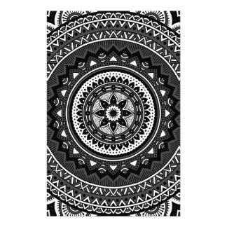 Black and white mandala customised stationery