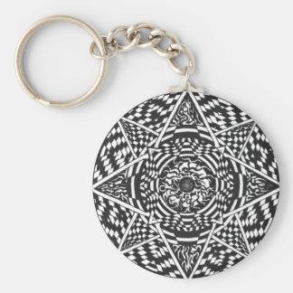 Black and white mandala design key ring