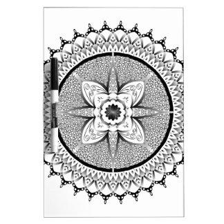 Black and white mandala dry erase board