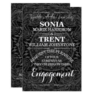 Black and white mandala Engagement Announcement