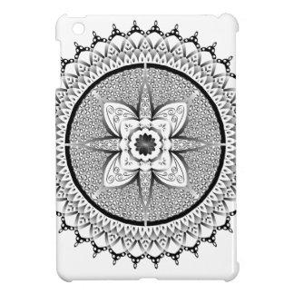 Black and white mandala iPad mini cases