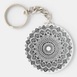Black and White Mandala Key Ring