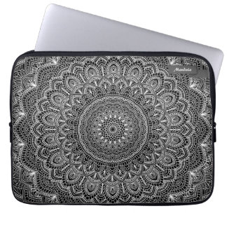 Black and white Mandala Laptop Sleeves