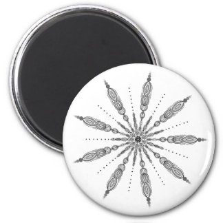 Black and White, Mandala, Line Drawing, Zen, Gray Magnet