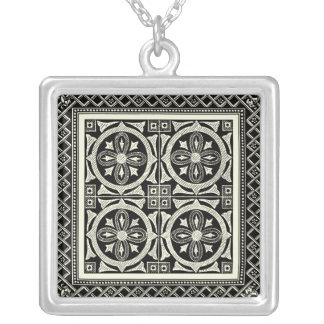 Black and White Mandala Motif by Vision Studio Square Pendant Necklace
