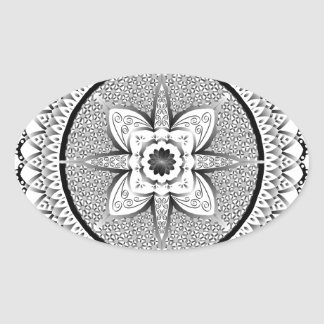 Black and white mandala oval sticker