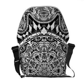 Black and white mandala pattern courier bags