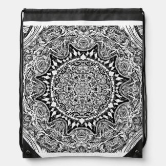 Black and white mandala pattern drawstring bag