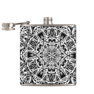 Black and white mandala pattern hip flask