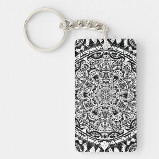 Black and white mandala pattern key ring