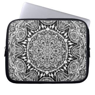 Black and white mandala pattern laptop sleeve