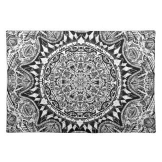 Black and white mandala pattern placemat