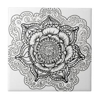 Black and White Mandala Small Square Tile