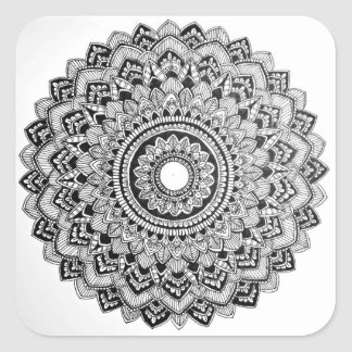 Black and White Mandala Square Sticker