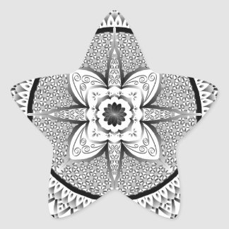 Black and white mandala star sticker