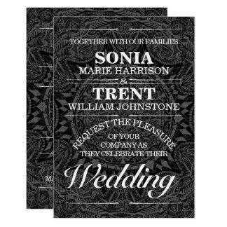 Black and white mandala wedding card
