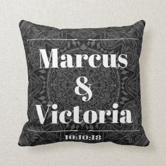 Black and white mandala wedding cushion