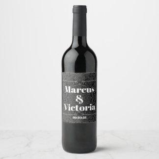 Black and white mandala wedding wine label