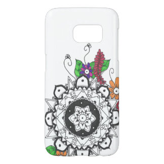 Black and White Mandala with Colourful Flowers