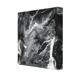 Black and White Marble Acrylic Painting Gallery Wrapped Canvas
