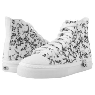 Black and white marble background printed shoes