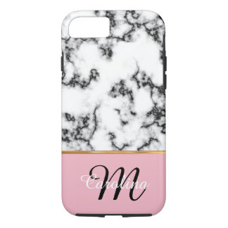 Black and White Marble, Pink,  Name and Monogram iPhone 7 Case