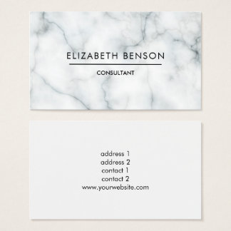 black and white marble professional elegant plain business card
